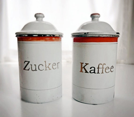 vintage enamel canisters, set of 2 from Germany, sugar and coffee, white with red and gold pin stripes