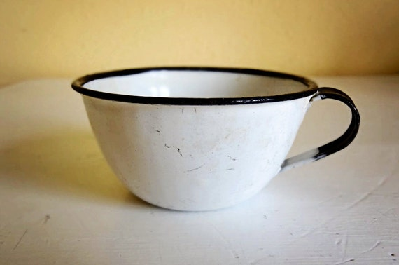 vintage white enamel cup with black rim, cute small teacup size