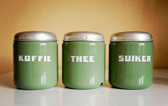 vintage enamelware canister set, Dutch in reseda green, set of three for coffee, tea, sugar