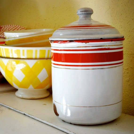 vintage French enamelware canister, chipped enamel café, white with red stripes, gold pin stripes