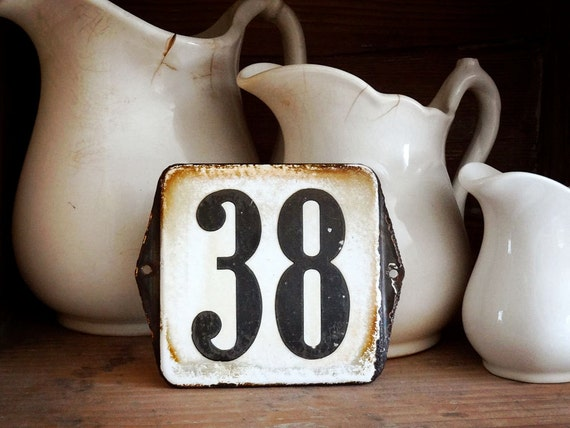 vintage enamel house number from Europe, number 38 black on white