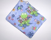 Pouch/Bag - Frogs on Lavender Blue - Zipper - Extra Pocket