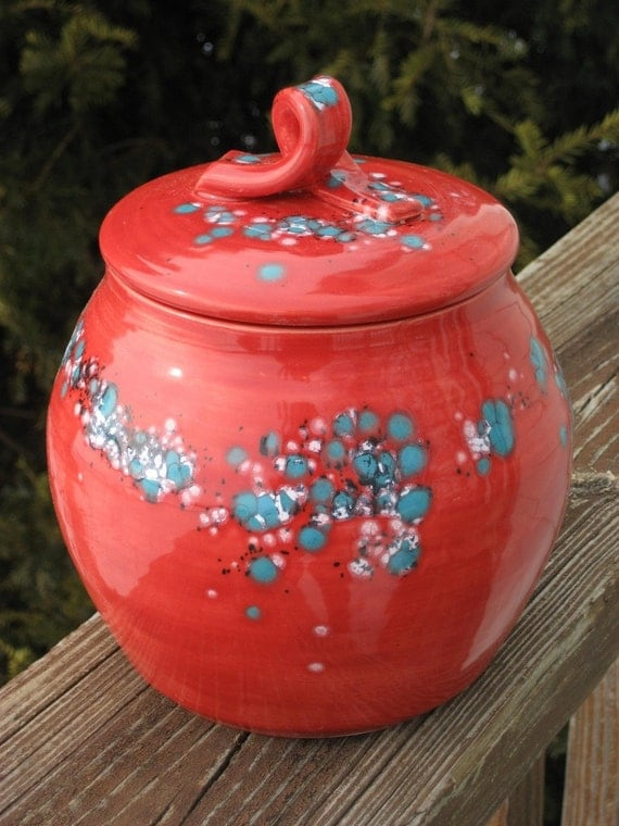 covered jar, red with turquoise