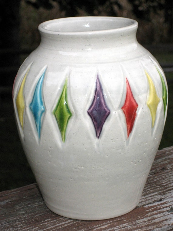 vase with large carved diamonds