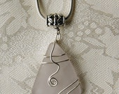 Rare Amethyst  Sea Glass Pendant for European and other  Chains--February Birthstone