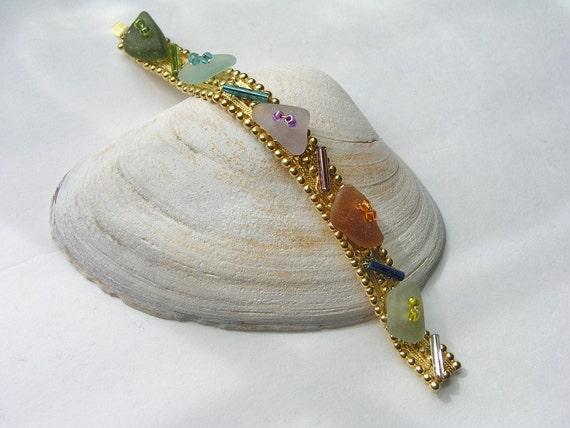 Sea Glass Bracelet with Rare Colors
