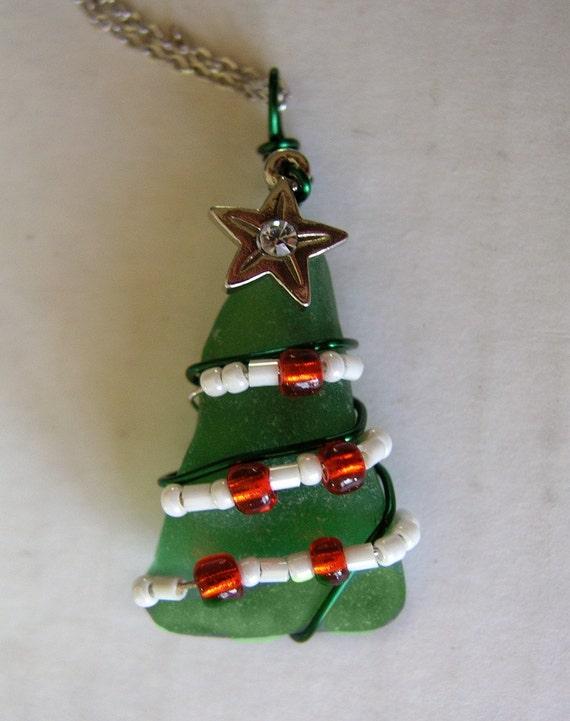 Sea Glass Christmas Tree Pendant Or Mini Tree By Oceansbounty