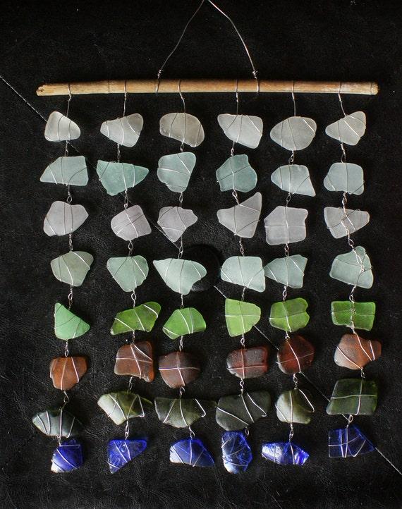 Colorful Sea Glass Mobile Suncatcher Featuring Rare Sea Glass Colors