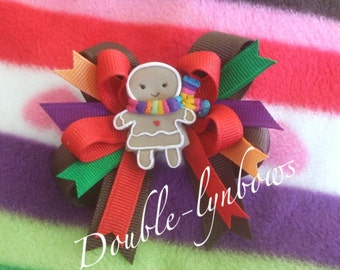 M2M Cozy Gifts from Crazy 8 Gingerbread Girl Toddler hairbow Bow made by Double-lynbows