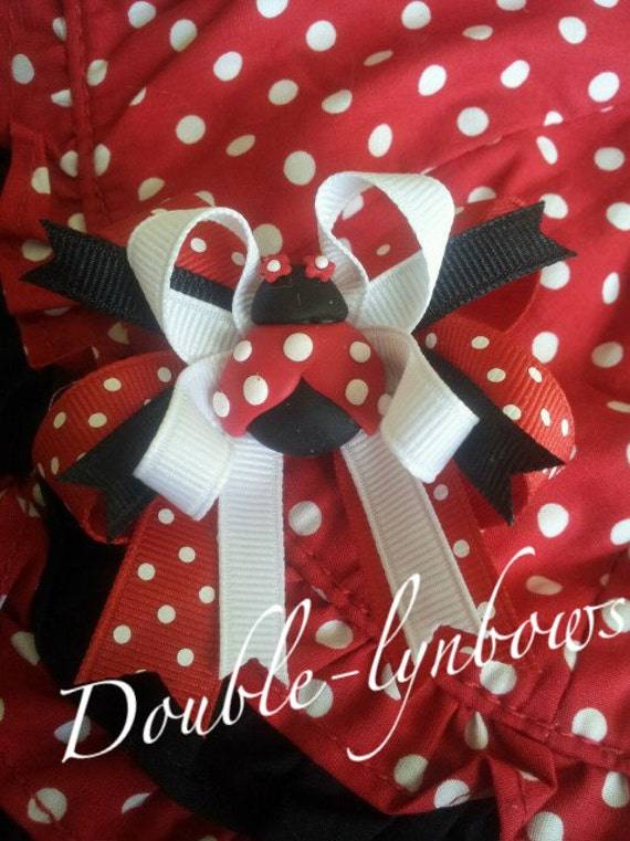 Polka Dot Lady Bug Toddler hairbow bow m2m Gymboree from Double-lynbows