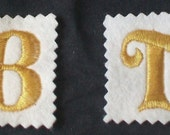 Felt Embellishment Embroidered Letter Metallic GOLD or SILVER 31mm to 40mm-Sew on Iron on or Stick on