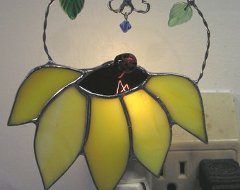 Sunflower Night Light in Stained Glass