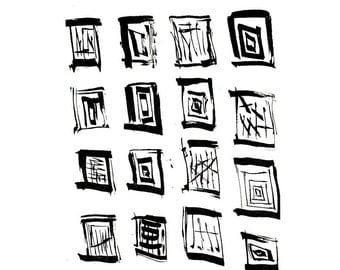 Archival print of original india ink drawing - Rectangles 1