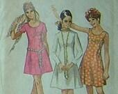 1970 Princess Seam Dress in 2 Lengths - 2 Necklines - Sleeveless, Short or Long Sleeves - UNUSED Simplicity Sewing Pattern 8885 - 32\/25\/35