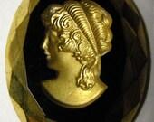 Vintage Golden Lady Intaglio Cabochon (1)