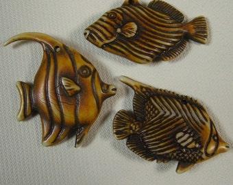 3 Plastic Fish charms