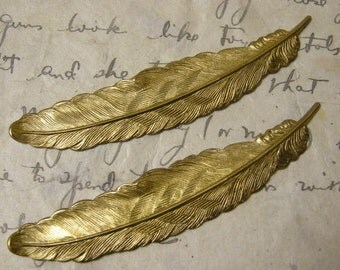 Brass Feather Stampings (2)