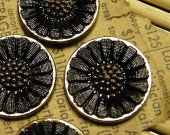 Vintage Black and Gold Pressed Glass Cabochons 18mm (4)