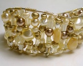 Pure Luxury Gold and Pearl Wire Cuff Bracelet