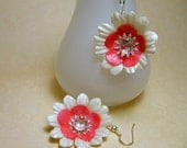 Pink and White Daisy Earrings
