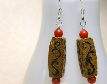 Swirly Wood Burned Earrings