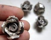3 Beautiful Hilltribe silver roses - flower pendants  - 24 mm 9.5 grams each