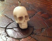 2 Hand Carved small Skull Beads - Carved in Bali from Naturally Shed Deer Antler