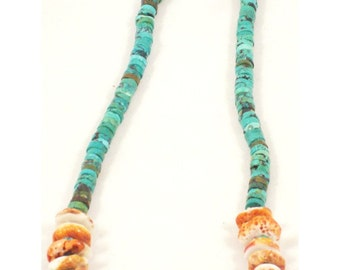 SALE! Spiny oyster and turquoise necklace