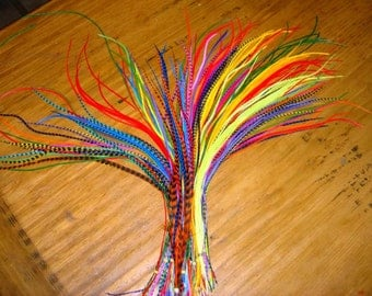 Feather Hair Extensions - 10 Hair FEATHERS for Extensions in YOUR COLORS