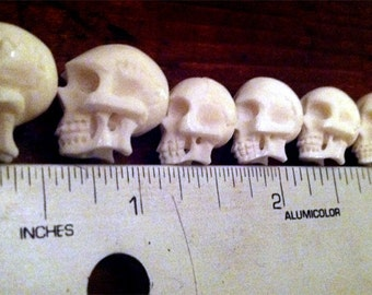 Carved Bone Skull Beads -8- Hand Carved in Bali