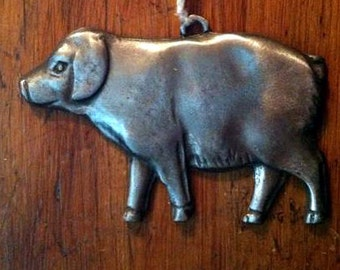 Pig love or Pig healing or missing Pig milagro Tin Silver Ex Voto