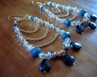 Fabulous vintage crystal  drop earrings  handmade in Santa Fe