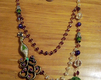 Peacock necklace - this stunning necklace is handmade and vintage inspired - free shipping