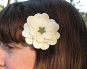 Cream Felt Flower Hair Clip
