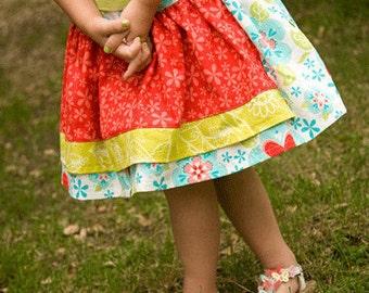 Girls skirt pattern, PDF sewing pattern, Apron Twirl Skirt, INSTANT DOWNLOAD, size 12 months - size 8