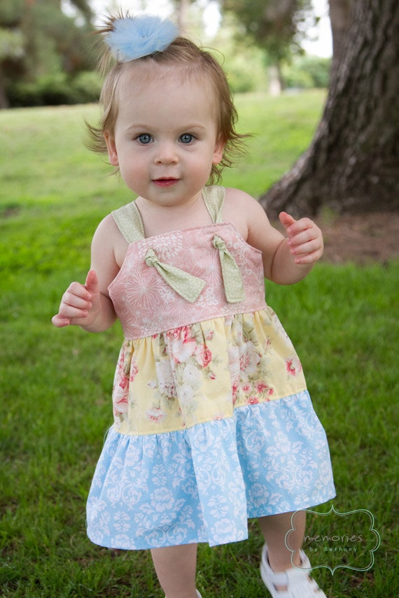 Girls Knot Dress Pattern, PDF ebook, tiered jumper, Leilani, size 12 months - size 8 INSTAND DOWNLOAD
