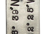 """Custom Latitude and Longitude Coordinates Location Necklaces - Hand stamped - 24"""" Ball chain included"""