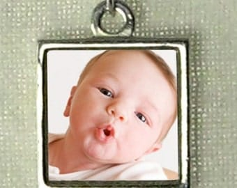 """Custom Photo Charm - Reversible and Waterproof - Sterling Silver - Small Size (1/2"""") - Handmade & Finest Quality"""