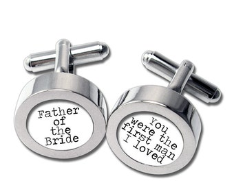 Father of the Bride Cufflinks - For Dad on Your Wedding Day - Waterproof -Typewriter font