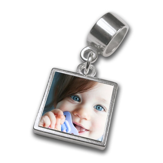 """Photo Charm for Slider Charm Bracelets -Reversible and Waterproof - Sterling Silver - Small Size (1/2"""")  w/ Engraving"""