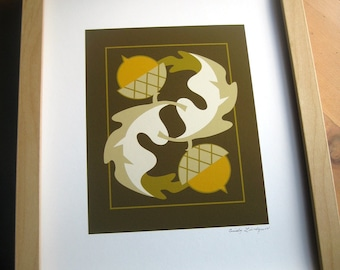 Acorn Oak Leaf Art Print