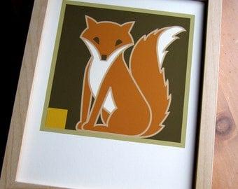Fox Art print Craftsman style