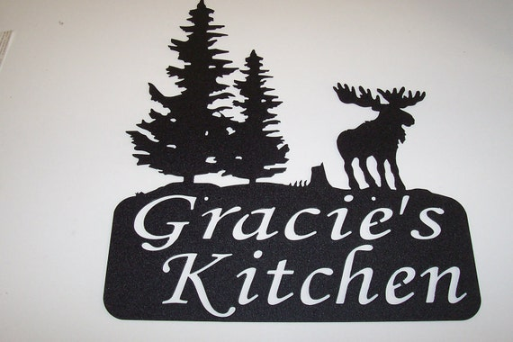 PERSONALIZED Name sign WEDDING Anniversary Gift  MOOSE Pine Tree's Cabin Rustic Decor Grooms gift