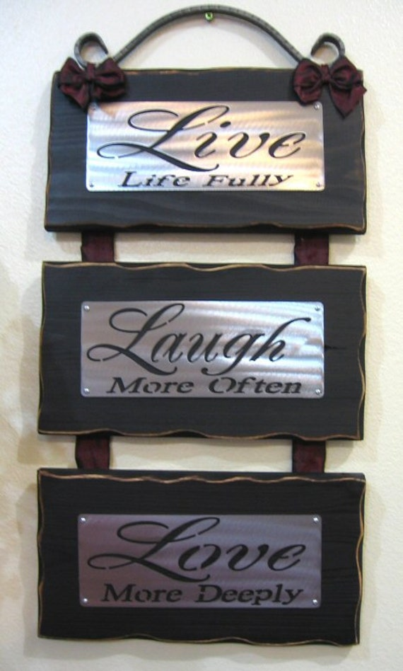 LIVE LAUGH LOVE Wall Hanging Plaque Sign Metal Cedar Wrought iron Free shipping