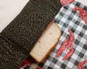 eco-friendly food wrap black fabric with gold swirls