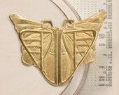 XX Large brass art nouveau DECO BUTTeRFLY beetle pendant  73mm x 64mm (FF20).