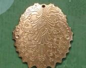 6 PAISLEY filigree brass jewelry charm drops . 35mm x 29mm (S7).