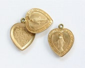 1 Mary Heart PRAYER LOCKET jewelry pendant . Our Father . 25mm x 19mm (ST22).