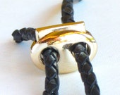 1 gold spring jewelry CLASP. Fits 3mm leather cord or smaller.