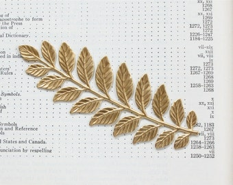 2 Large and long gold LAUREL LEAF jewelry embellishment 89mm x 33mm (ST6).